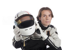 Young driver with his helmet Stock Image
