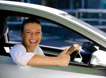 Woman in a car stock photos