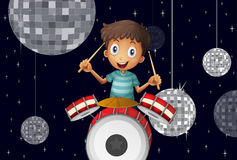 A young drummer at the disco house. Illustration of a young drummer at the disco house Royalty Free Stock Image