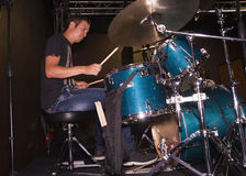 Young drummer. Of a new Italian group on stage royalty free stock photos