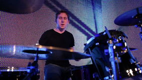 Young drummer stock footage