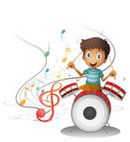 A young drummer smiling Royalty Free Stock Photography