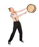 Young drummer on white background Royalty Free Stock Photos