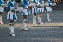 Young drummers at a military parade. Royalty Free Stock Photo