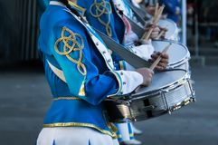 Young drummers at a military parade. Royalty Free Stock Images