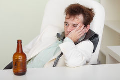 Young Drunkard With Hangover After Holiday Royalty Free Stock Photography