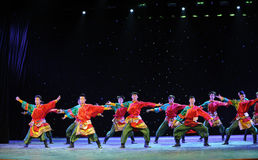 The young eagles-Tibetan Boy Dance-The campus show. In December 27, 2014, the Department of dance of the students are for the annual graduation performance royalty free stock images