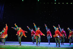The young eagles-Tibetan Boy Dance-The campus show. In December 27, 2014, the Department of dance of the students are for the annual graduation performance stock photography