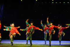The young eagles-Tibetan Boy Dance-The campus show. In December 27, 2014, the Department of dance of the students are for the annual graduation performance royalty free stock image