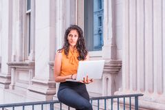 Young East Indian American Business Woman working in New York Stock Photo