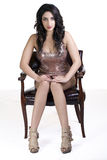 Young East Indian Woman Sitting Dress Chair Royalty Free Stock Photos