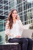 Young Eastern European Businesswoman traveling, working in New Y royalty free stock photo