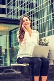 Young Eastern European Businesswoman traveling, working in New Y royalty free stock photos