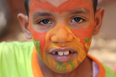 Young Egyptian boy. A portrait of a happy young boy had his face painted in Giza, Egypt Stock Photos