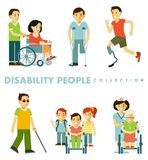 Disability people set in different situations royalty free illustration
