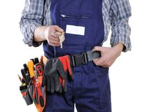 Young electrician technician in clothes and work tools isolated Royalty Free Stock Photos