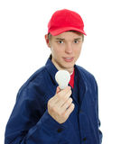 Young electrician in uniform Royalty Free Stock Photography
