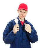 Young electrician in uniform Royalty Free Stock Photos