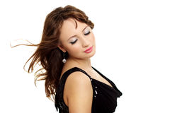 Young elegance woman with beauty hairs. Isolated on white Stock Photography