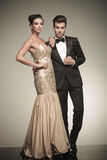 Young elegant couple posing together Stock Images