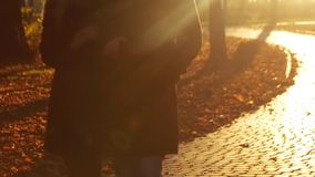 Young elegant couple walks arm in arm down the autumn alley in a bright sunshine. Romantic date. Couple goals. Happy. Memories. Autumn trees, fallen leaves on stock footage