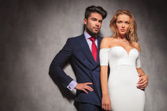 Young elegant fashion couple looking away Stock Image