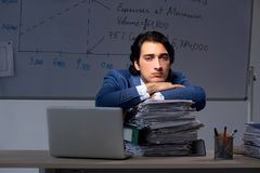 The young elegant financial specialist working in the office night time stock image