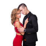 Young elegant loving couple portrait, isolated on Stock Images