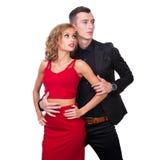 Young elegant loving couple portrait, isolated on Royalty Free Stock Images