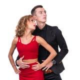 Young elegant loving couple portrait, isolated on Stock Photography