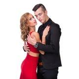 Young elegant loving couple portrait, isolated on Stock Image
