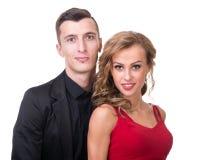 Young elegant loving couple portrait,  on white Stock Image