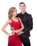 Young elegant loving couple portrait,  on white Royalty Free Stock Photos