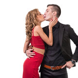 Young elegant loving couple portrait,  on white Royalty Free Stock Photography
