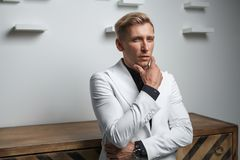 Handsome stylish man in suit Stock Images