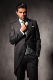 Young elegant man adjusting his green tie Royalty Free Stock Image
