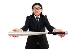 Young elegant man in black suit holding bat Stock Image