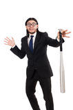 Young elegant man in black suit holding bat Stock Photography