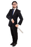 Young elegant man in black suit holding bat Stock Photo