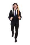 Young elegant man in black suit holding bat Royalty Free Stock Photos