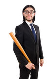 Young elegant man in black suit holding bat Royalty Free Stock Images