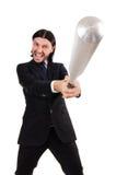 Young elegant man holding bat isolated on white Royalty Free Stock Images