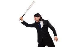 Young elegant man holding bat isolated on white Stock Image