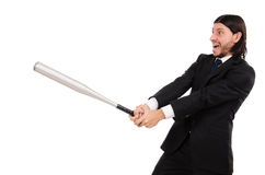Young elegant man holding bat isolated on white Stock Photos