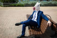 Young Elegant Man In Funny Mask And Suit Have A Break In Park Royalty Free Stock Images