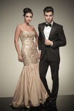 Young elegant man and woman posing Royalty Free Stock Images