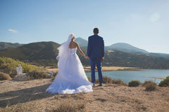 Young elegant wedding couple Stock Photos