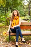 Young elegant woman with autumn leaves. Sitting on bench stock photography