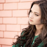 Young elegant woman on a brick wall backround. Young elegant woman in front of brick wall backround Stock Photography