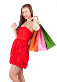 Young elegant woman with coloured bags Royalty Free Stock Photography
